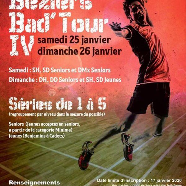 Inscriptions ouvertes pour le tournoi Béziers Bad'Tour IV